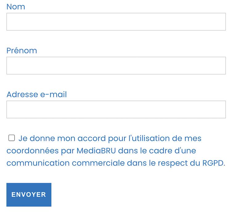 Exemple de formulaire conforme au RGPD